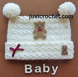 Free Crochet Pattern For Child Slouch Hat : Free baby crochet pattern pom pom hat uk