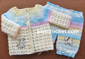 Crochet Patterns Free Usa : Free baby crochet pattern puff stitch outfit usa